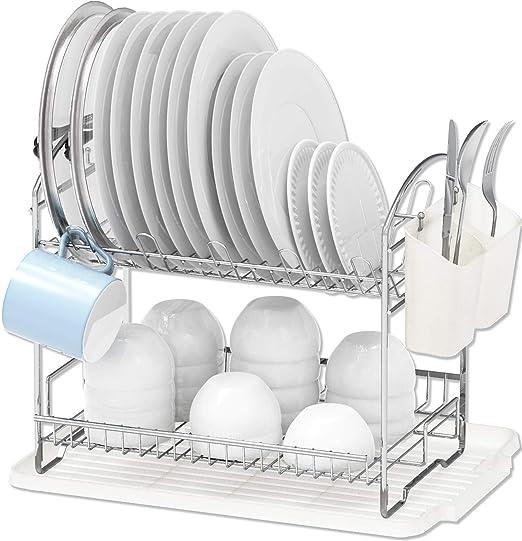Amazon Com Simple Houseware 2 Tier Dish Rack With Drainboard