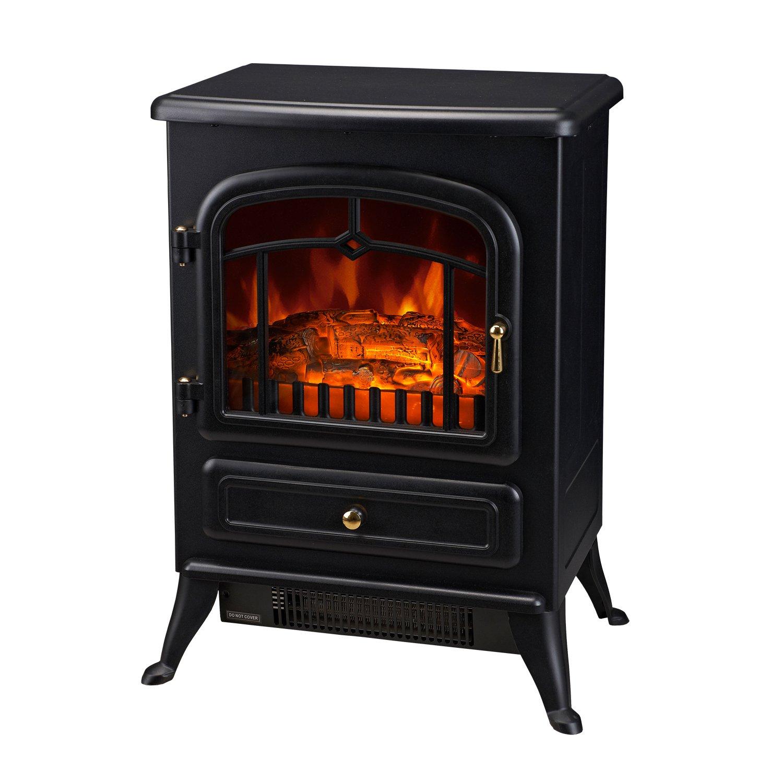 HomCom 16'' 1500W Free Standing Electric Wood Stove Fireplace Heater - Black by HOMCOM