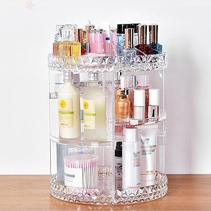 Cajas de almacenamiento cosméticas cajas de almacenamiento cosméticas estantes de cosméticos titular de organizador giratorio de ...