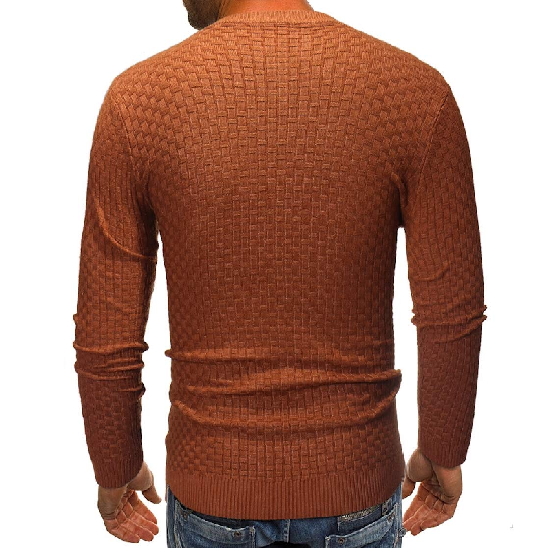 YUNY Mens Crew Neck Solid Colored Knit Chic Soft Autumn Winter Pullover Sweaters Camel S