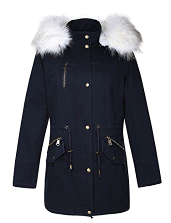 7a4ae7ed3f8 Amazon.com  Bellivera Women s Parka Faux Fur Collar Twill Jacket ...