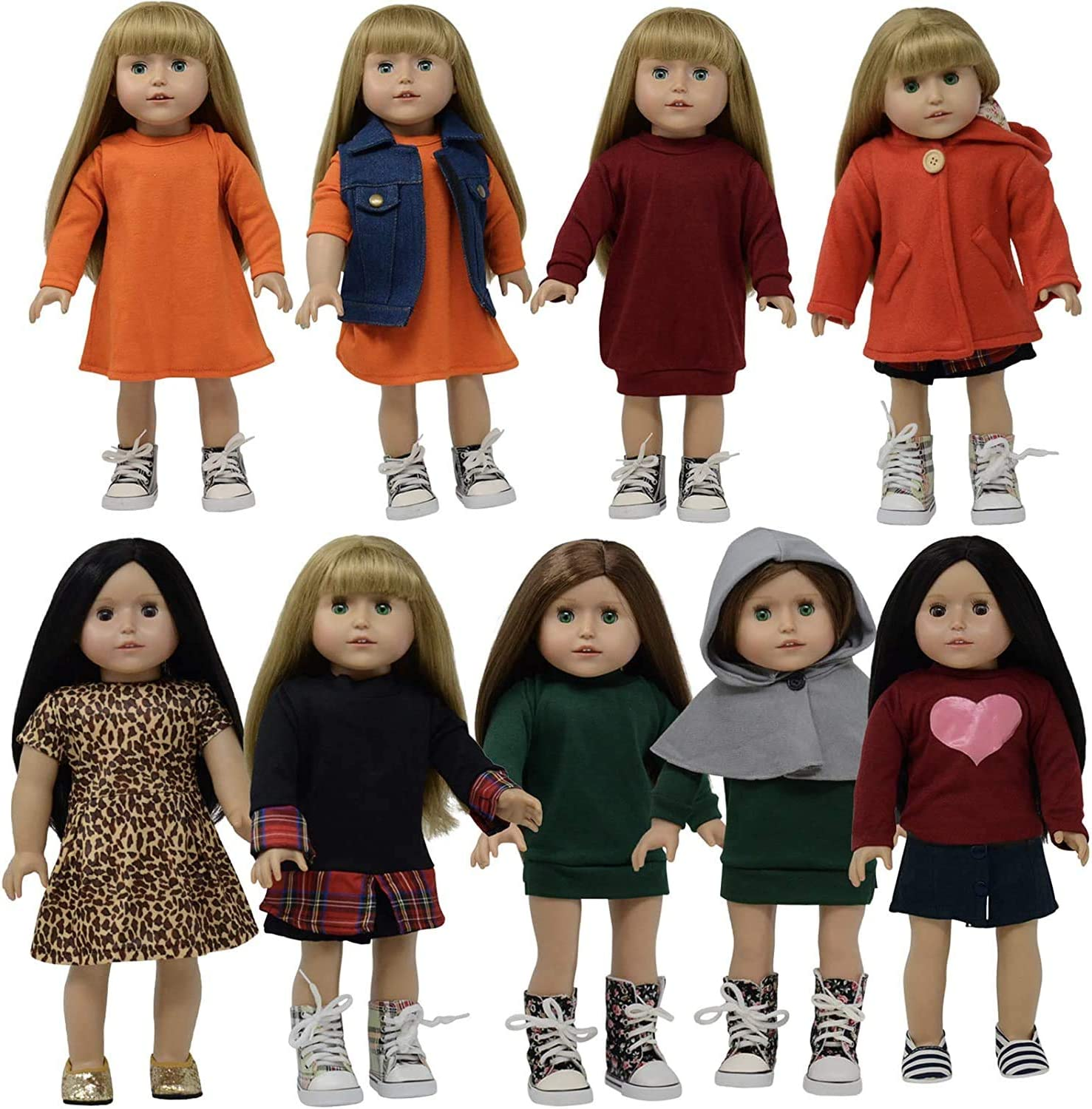 18 Inch Doll Clothes Dress and Doll Accessories (Winter Clothing Set)