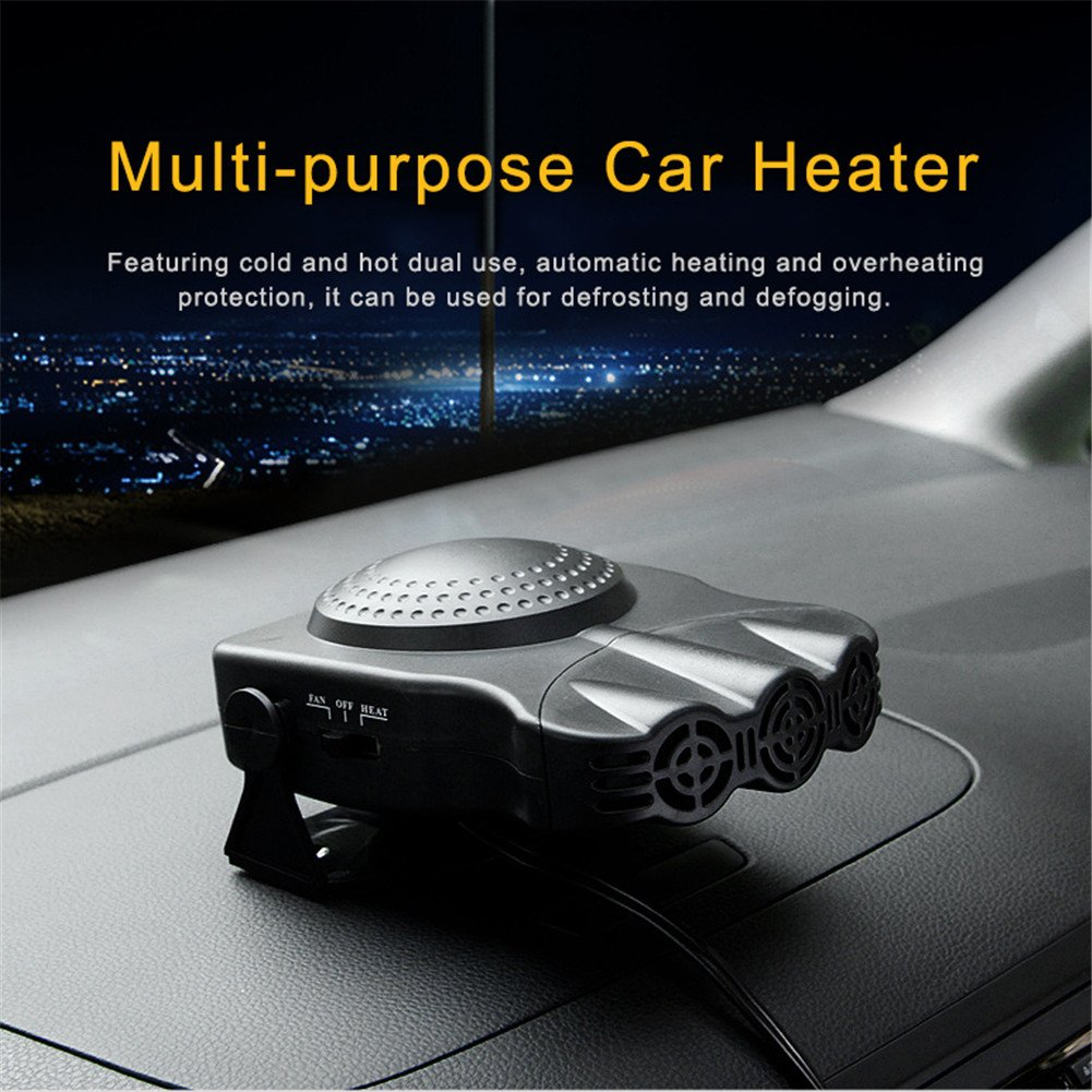 DeWin Car Hot Fan Portable Ceramic Heater for Car Heating 12V 250W Windshield Defroster and Demister