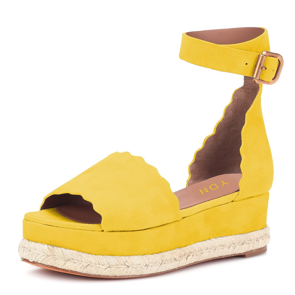YDN Women Espadrille Peep Toe Ankle Straps Wedge Sandals Low Heels Platform Shoes with Buckle B07DCNX5BL 11 M US|Yellow