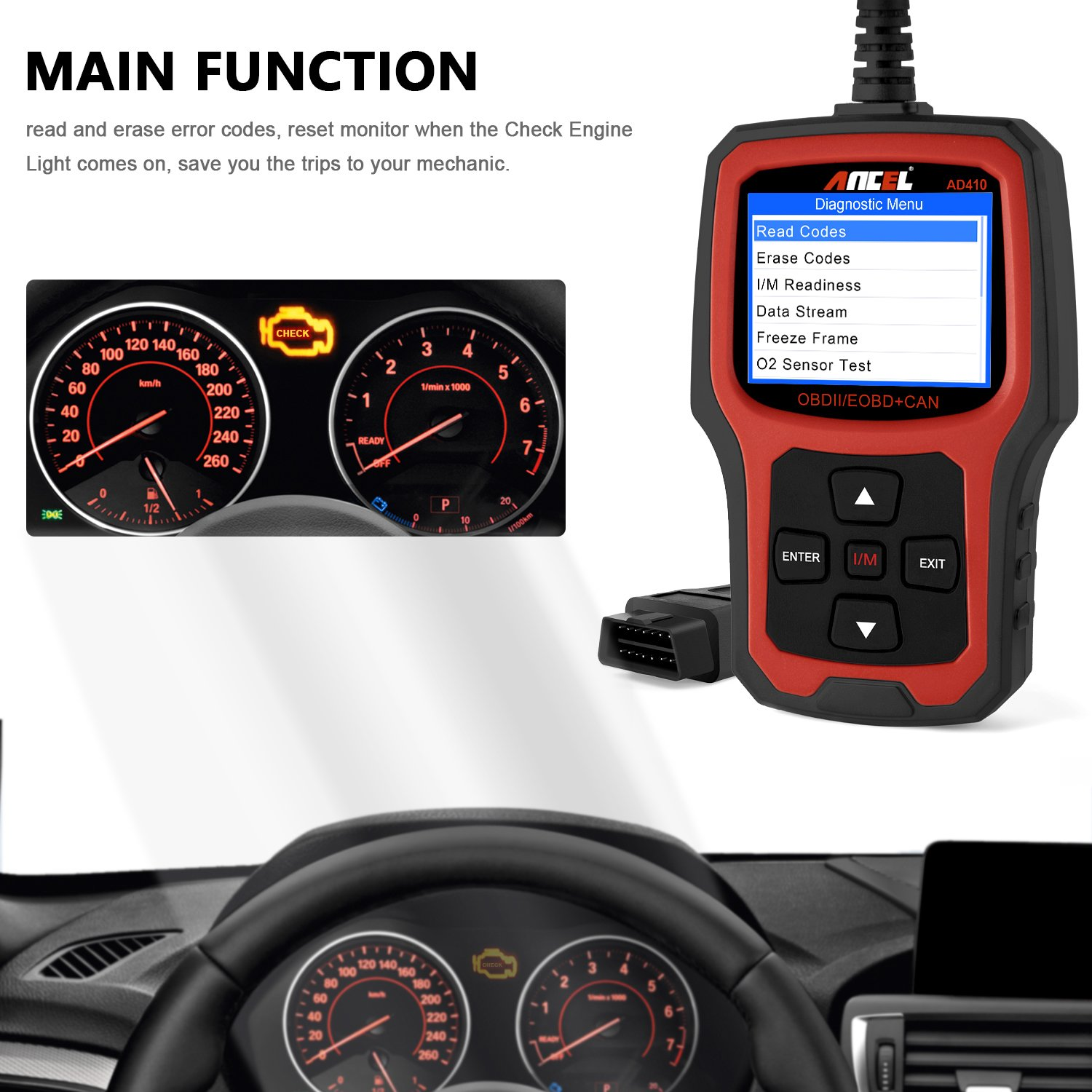 ANCEL AD410 OBD II Vehicle Check Engine Light Scan Tool Automotive Code Reader Auto OBD2 Scanner with I/M Readiness (Black-Red) by ANCEL (Image #2)