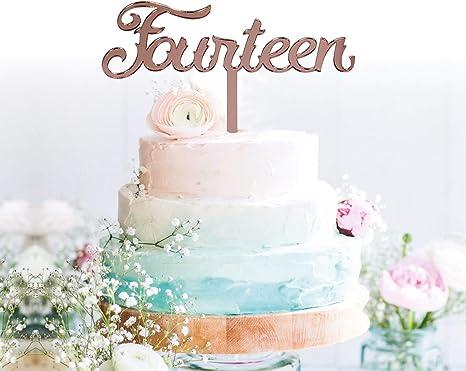Brilliant Amazon Com Grantparty Fourteen Rose Gold Cake Topper 14Th Personalised Birthday Cards Veneteletsinfo
