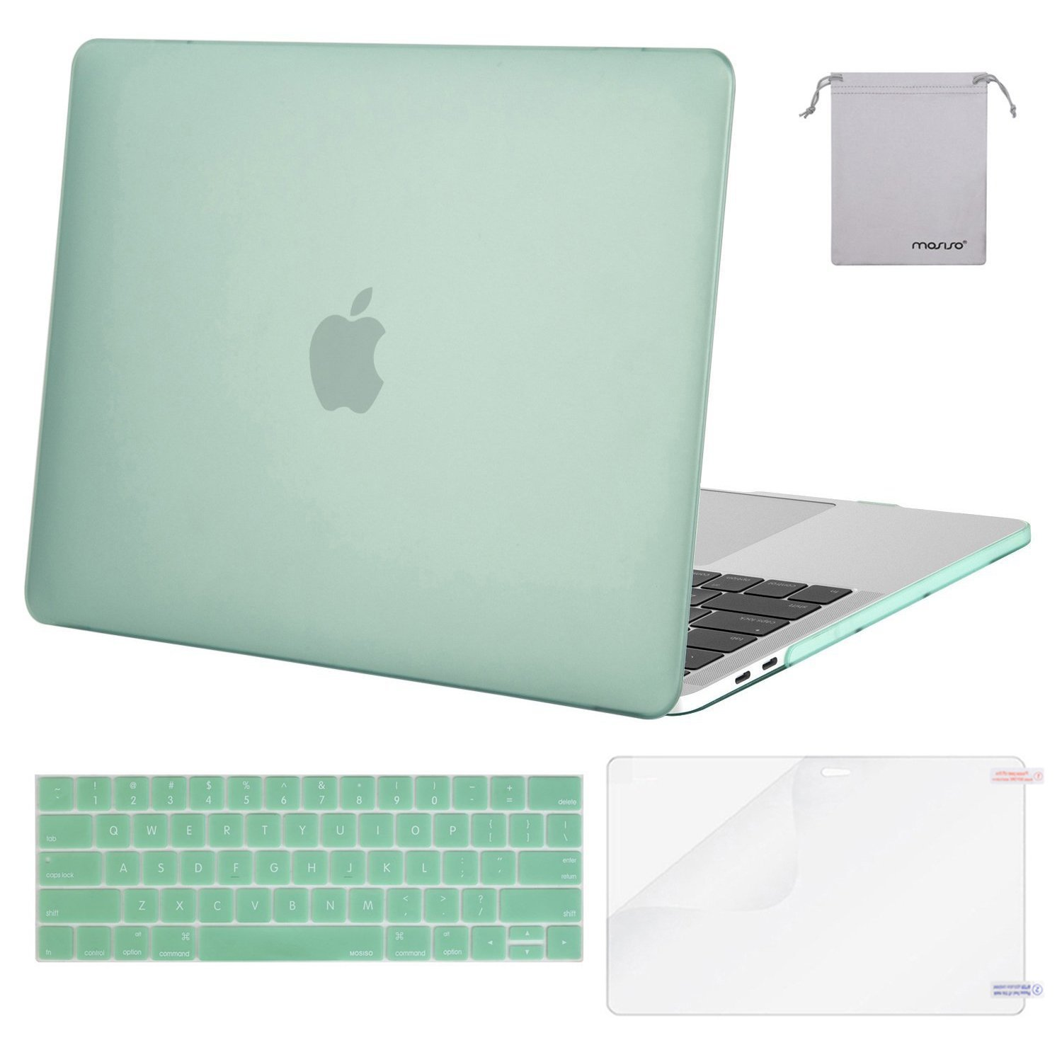 Mosiso MacBook Pro 13 Case 2018 2017 2016 Release A1989/A1706/A1708, Plastic Hard Case Shell with Keyboard Cover with Screen Protector with Storage Bag for Newest MacBook Pro 13 Inch, Mint Green