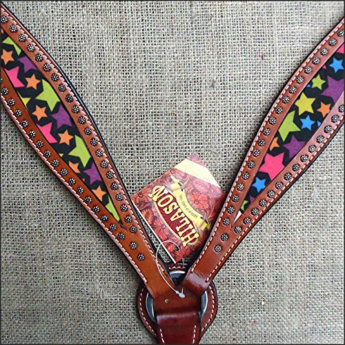 Hilason WesternレザーHorse Headstall Breast襟マホガニーStar Inlay 標準  B01AYNFP34