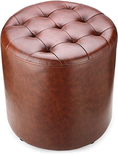 BILEEDA Small Brown Leather Ottoman Foot Stools and Ottomans Foot Rest Stool Round