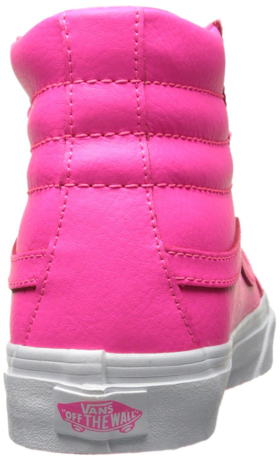 Vans Unisex Perf Leather Sk8-Hi Slim Zip True White Sneaker - 7.5 B01I2CL2ZO 8.5 M US Women / 7 M US Men|Neon Pink/True White