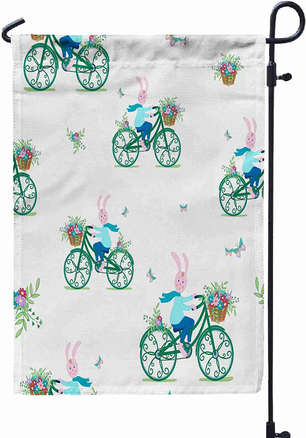 Shorping Welcome Garden Flag, 12x18Inch Bunny on Vintage Green Bike Carries Basket of Colorful Flowers Cartoon for Holiday and Seasonal Double-Sided Printing Yards Flags
