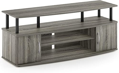 Furinno JAYA Large Entertainment Stand for TV Up to 50 Inch, French Oak Grey Black