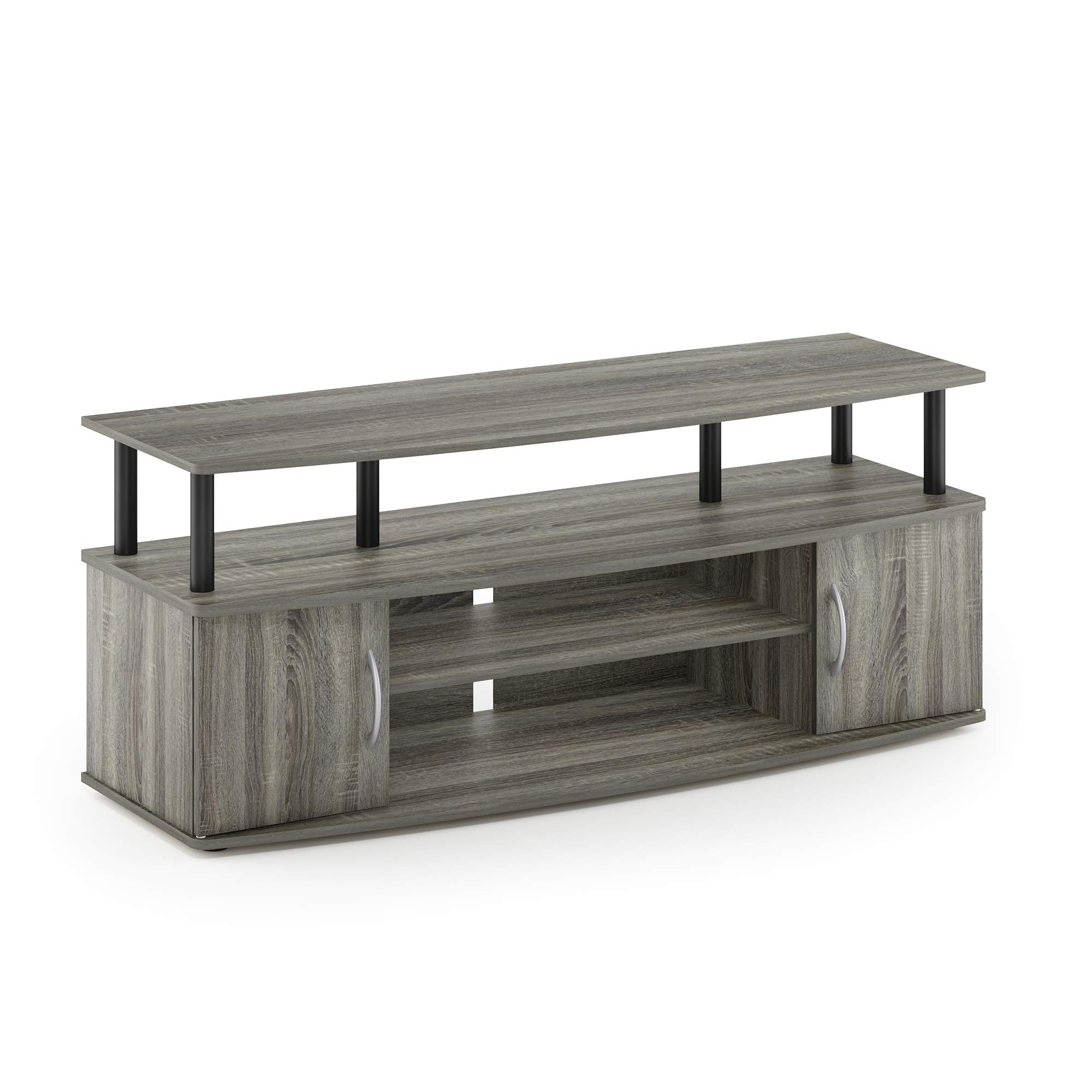 Furinno 15113GYW/BK Jaya Large Entertainment Stand for TV Up to 50 Inch, French Oak Grey/Black by Furinno