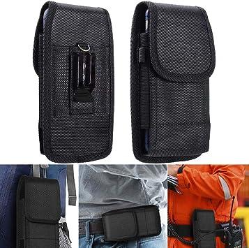 Imagen deBETOY Funda Cinturon en Nylon, Clip para Cinturón Funda Vertical Oxford con Velcro y Mosquetón para Huawei P20/P30 iPhone 6/7/8 Samsung S5/S9, 4,5-5,1 Pulgadas Noir