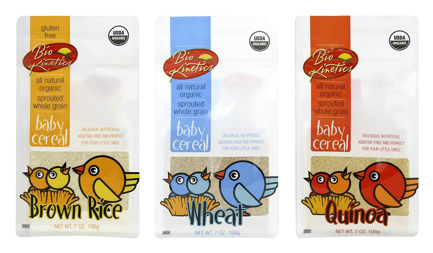 Organic, Sprouted Baby Cereal Assortment: Quinoa, Rice, Wheat - 7 Oz. (198 g) Each - 3 Pack Bundle Bio-Kinetics