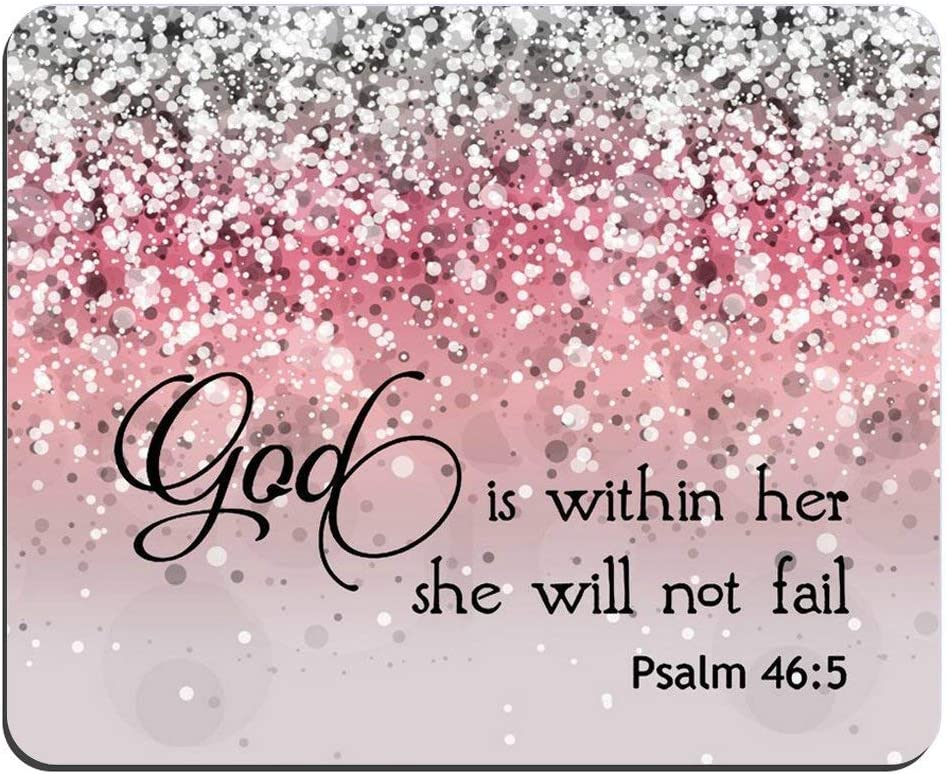 Bible Verse Pink Sparkles Glitter Mouse pad Psalm 46:5 God is Within Her,She Will Not Fall Rectangle Non-Slip Rubber Mouse pad