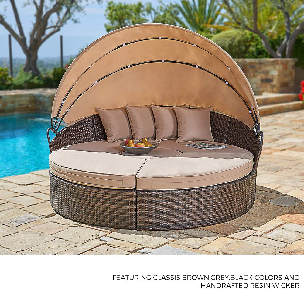 f56e38b6ea6 Amazon.com   SUNCROWN Outdoor Patio Round Daybed with Retractable ...