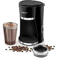 oneConcept Raffinato Nero Schnellkoch-Kaffeemaschine Mini -Kaffeemaschine mit doppelwandigen Thermo-Kaffeebecher to go