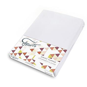 Favorito Jersey Topper Spannbettlaken   100% Baumwolle Spannbetttuch    180x200   200x200 Cm, Weiß