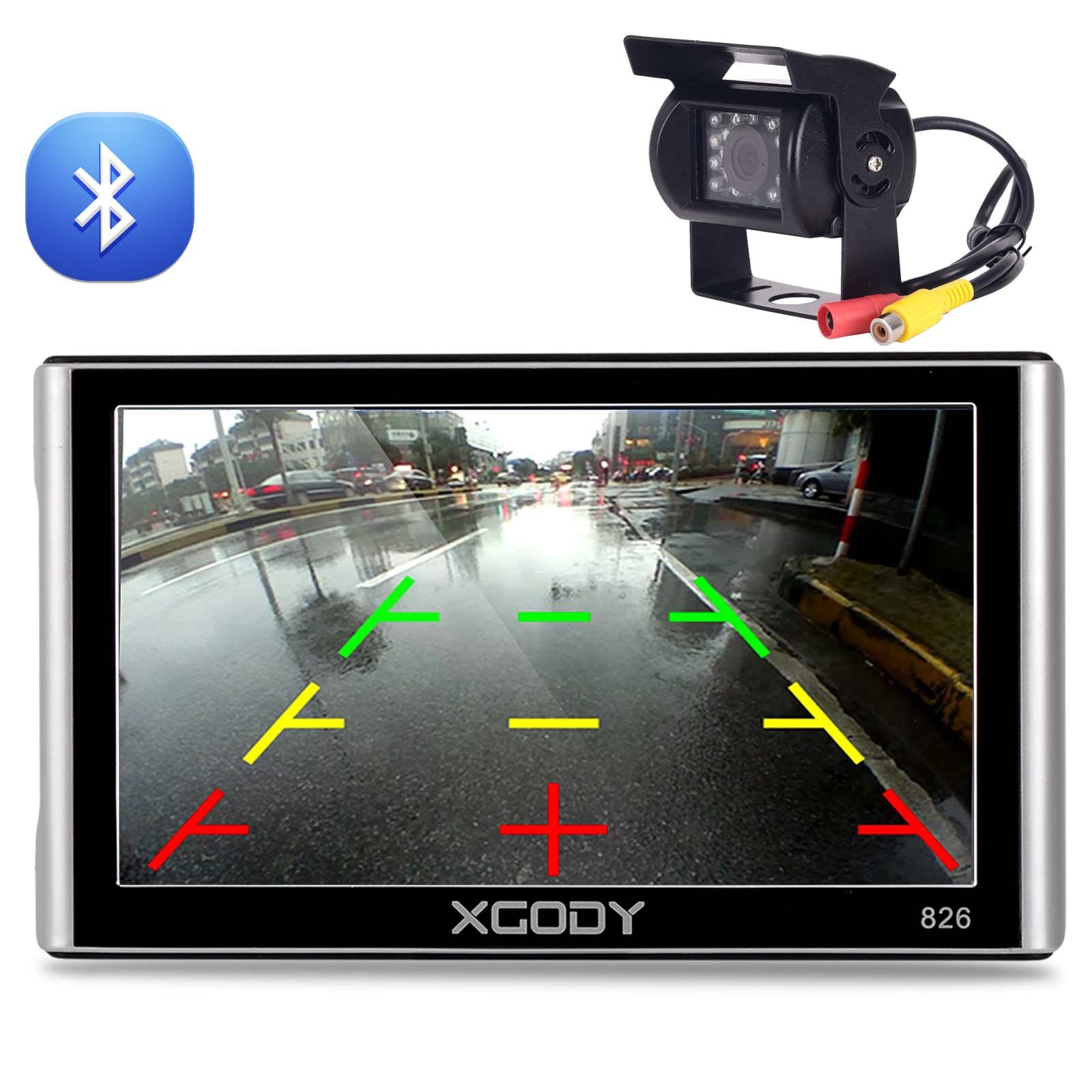 Xgody 826BT with 10 Meters Truck Camera 7 Inch RAM 256MB/ ROM 8GB with Sun Shade Bluetooth Capacitive Touchscreen SAT NAV Car GPS Navigation Lifetime Map Updates Speed Limit Displays (826BT+ Camera)