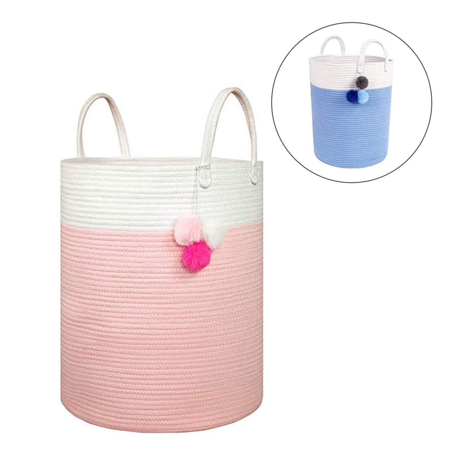 Solaya Tall Pink Cotton Rope Basket Storage 16''x 20'' - Large Natural Cotton Woven Basket w Handles – Decorative Storage Basket for Laundry, Clothes, Diapers, Toys, Hamper, Towels