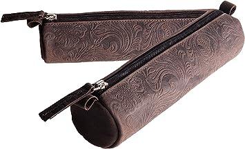 ANDERS Estuche de lápices plumier lapicero 100% cuero marrón con ornamentos florares: Amazon.es: Equipaje
