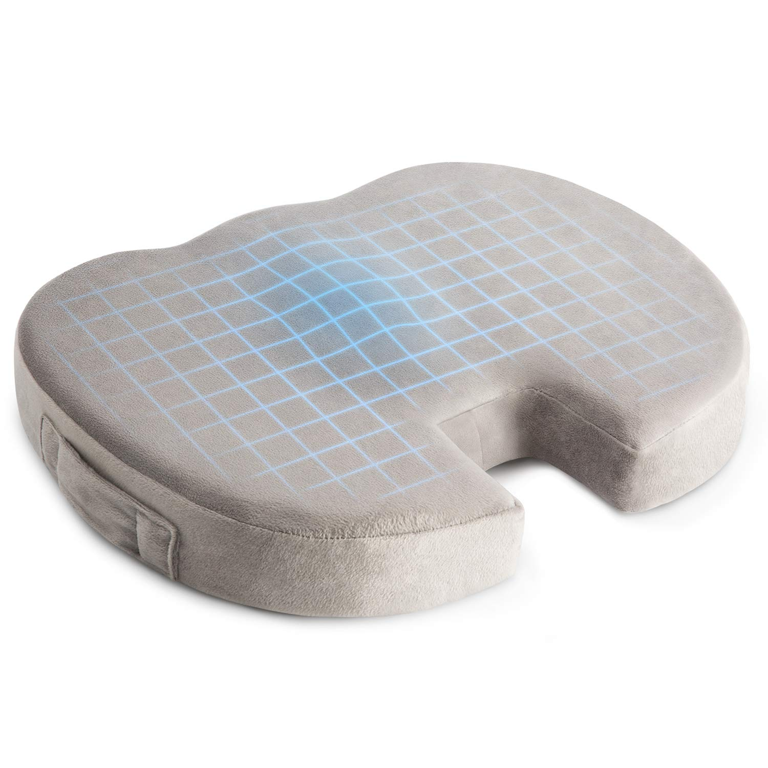 Windsleeping Natural Latex Seat Cushion Non-Slip Orthopedic Latex Coccyx Cushion for Tailbone Pain Office Chair Car Seat Cushion for Sciatica & Back Pain Relief,Grey