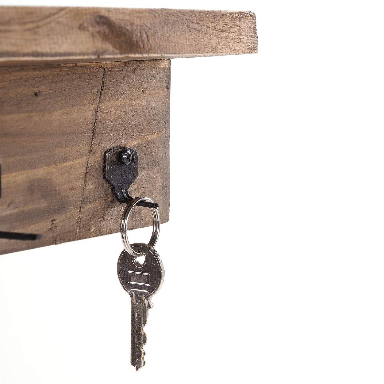 3 Haken DESIGN DELIGHTS Vintage SCHL/ÜSSELBRETT Keys BxHxT 26x9x6 cm Hakenleiste f/ür Schl/üssel Recyclingholz