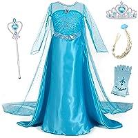 YOSICIL Vestido de Princesa Elsa Vestido Frozen Niñas Disfraz Traje de Cumpleaños Ninas Fancy Dress Nina Disfraz Elsa…