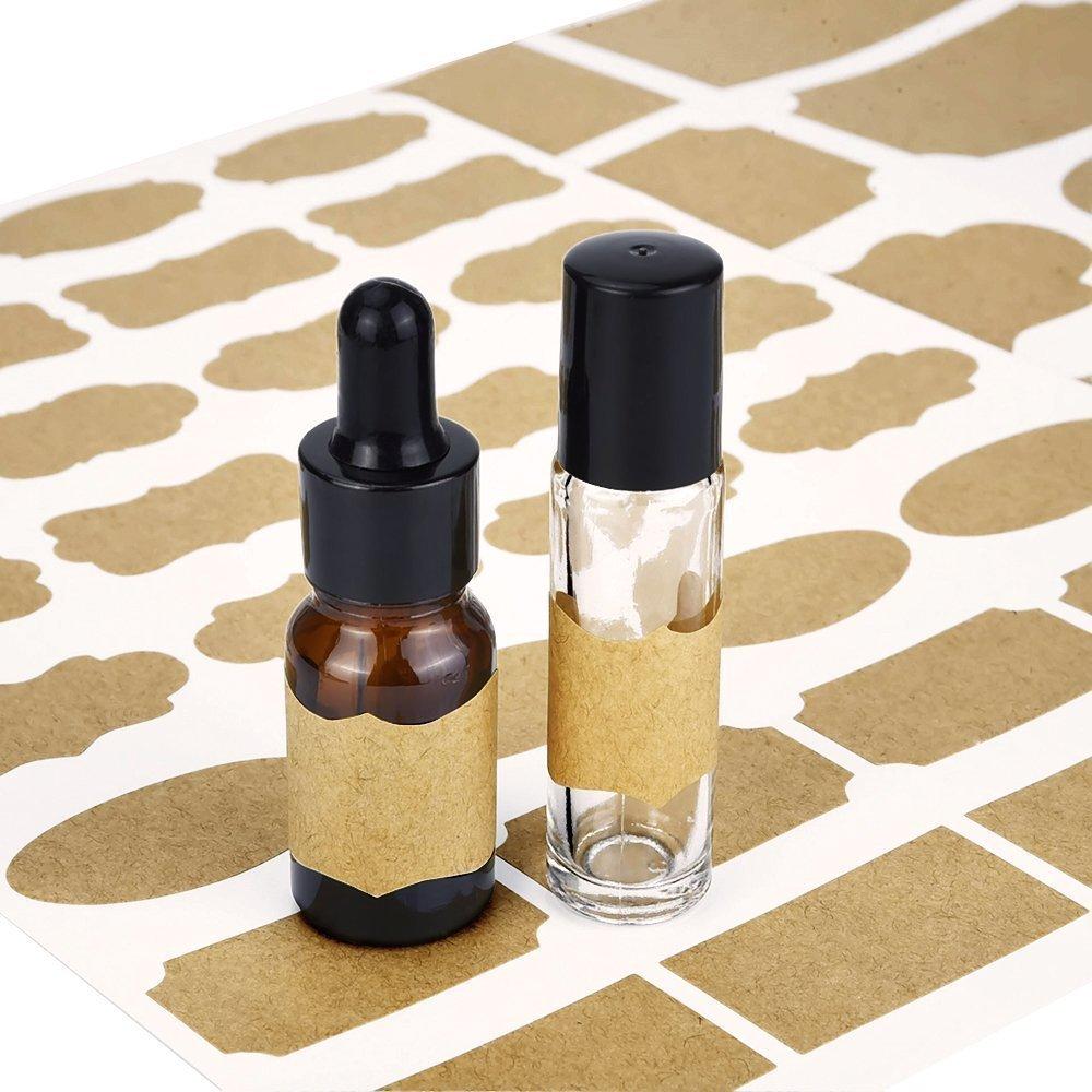 Essential Oil Bottle Marker Labels-Fancy Kraft Paper Stickers For Cosmetic Classification (6sheet-192pcs) by Elandy (Image #4)