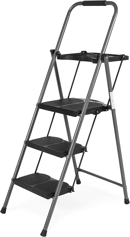 Best Choice Folding Steel 3-Step Stool Ladder Tool Equipment for Indoor, Outdoor w/ Hand Grip, Wide Platform Steps, 330lbs Capacity - Black