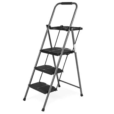 Best Choice Folding Steel 3-Step Stool Ladder Tool Equipment for Indoor, Outdoor w/Hand Grip, Wide Platform Steps, 330lbs Capacity - Black