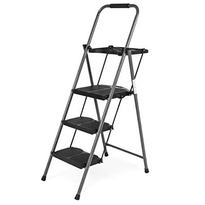 Best Choice Products Portable Folding 3-Step Ladder w/Rubber Feet Caps