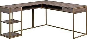 """Sauder International Lux L-Shaped Desk, L: 65.98"""" x W: 60.0"""" x H: 29.72"""", Diamond Ash"""