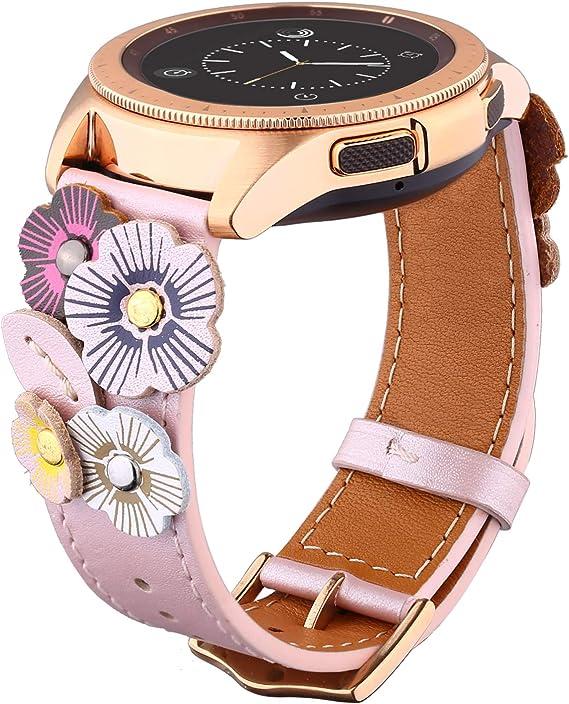 Ribivaul Flores de Correa Piel 5 Colores para Correa Reloj(Samsung) (40mm/42mm, Rosa): Amazon.es: Relojes