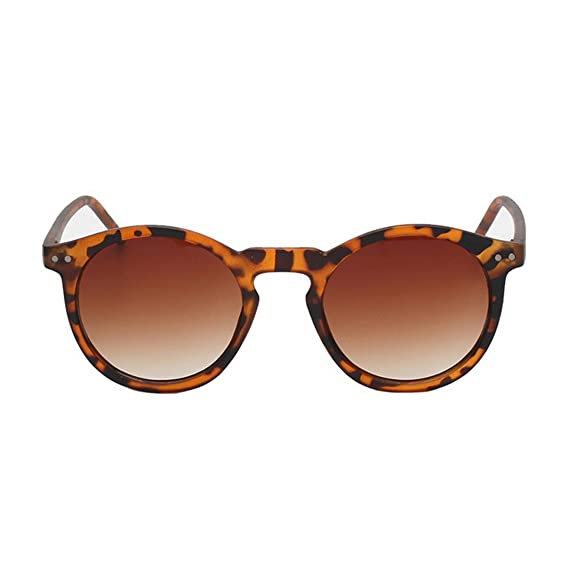 fef278fbd29 Vintage Round UV400 Protection Shades Acetate Frame Sunglasses - Brown  leopard - Brown