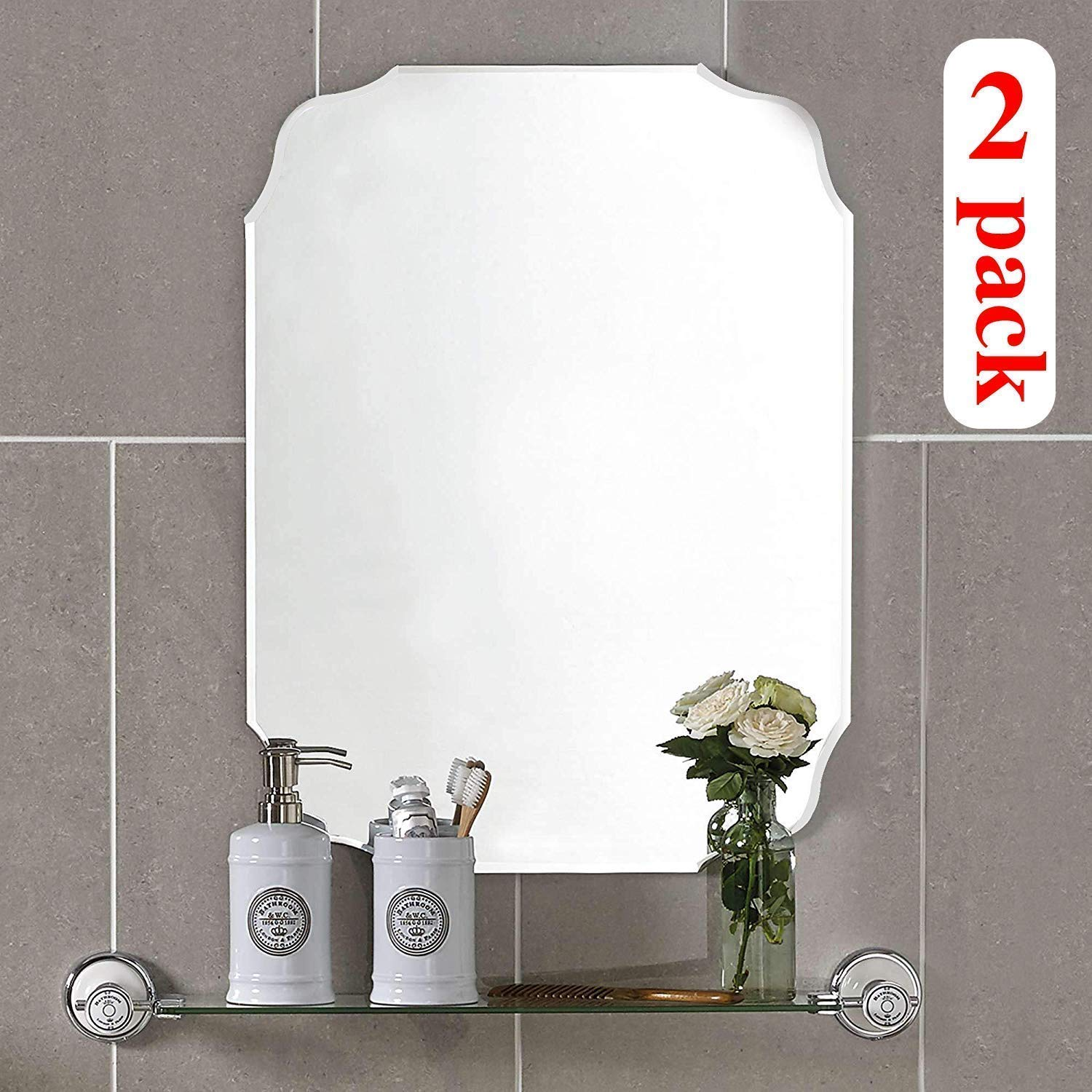 KOHROS Oval Beveled Polished Frameless Wall Mirror for Bathroom, Vanity, Bedroom (18'' W x 24'' H Rectangular 2 Pack) by KOHROS