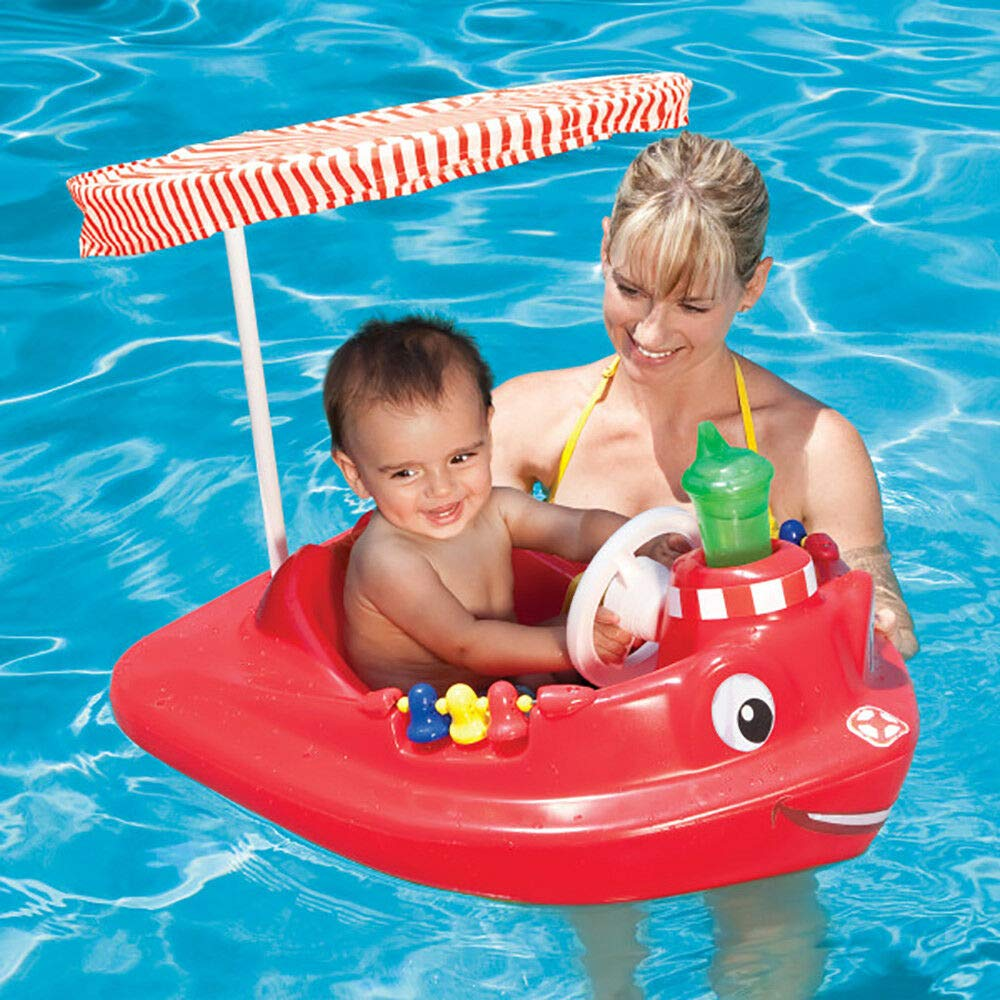 MRT SUPPLY Plastic Baby Swimming Pool Tug Boat Float with Toys and Canopy (2 Pack) with Ebook by MRT SUPPLY (Image #3)