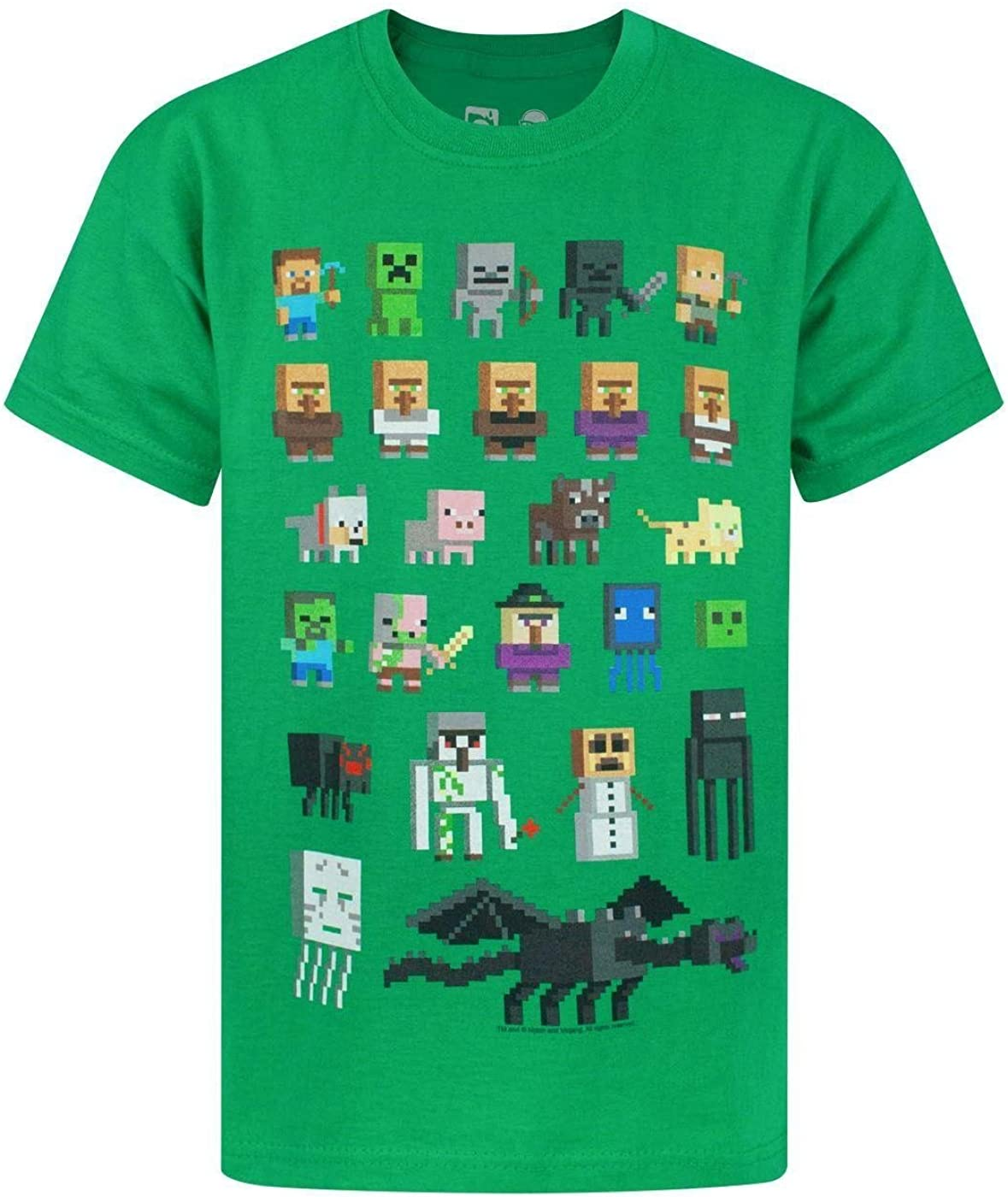 Black Blue Purple Green White Minecraft Sprites Boys T-Shirt