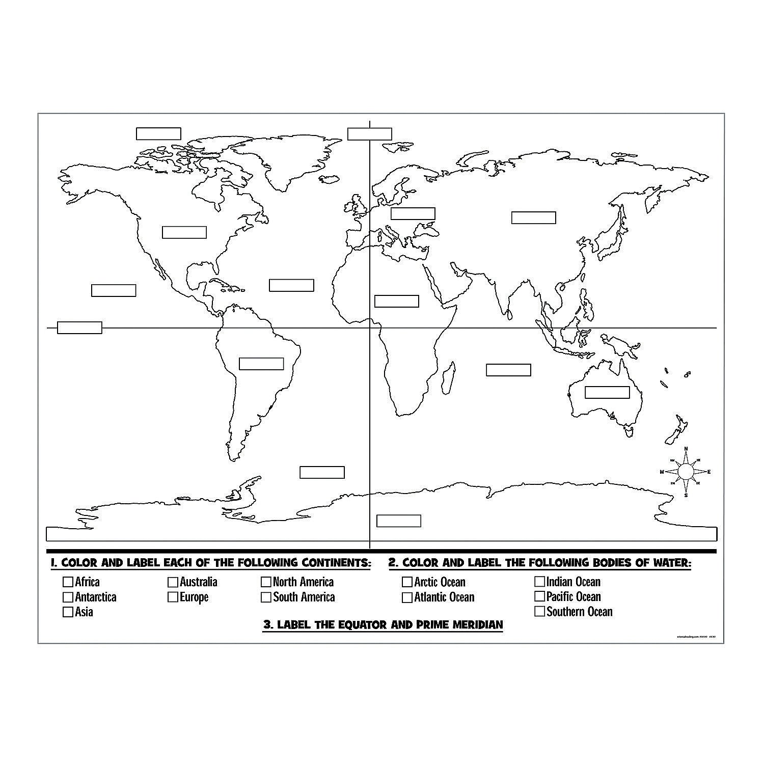 Color Your Own World Map.Amazon Com Color Your Own World Map Posters Health Personal Care
