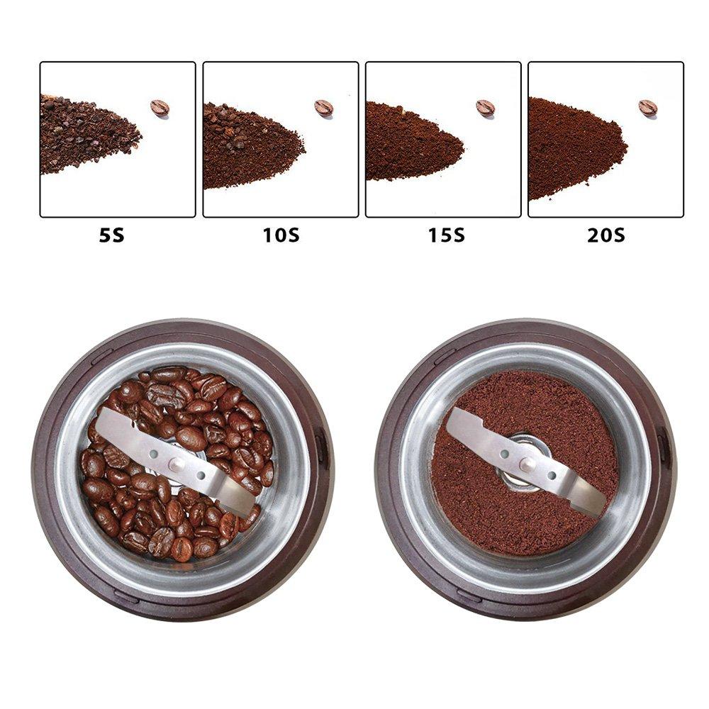 80g Fassungsverm/ögen Vilapur Kaffeem/ühle,Elektrische Kaffeem/ühle /& Gew/ürzm/ühle mit Edelstahlklingen Abnehmbare Sch/üssel /& Klarer Deckel