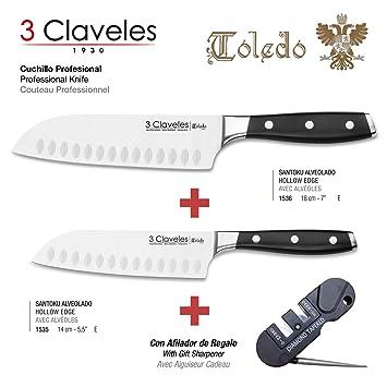 3 Claveles - Pack Cuchillos Santoku Gama Profesional Toledo, Acero Inoxidable Molibdeno Vanadio Forjado en Caliente, medidas 18 cm y 14 cm, Incluye ...