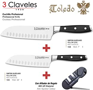3 Claveles - Pack Cuchillos Santoku Gama Profesional Toledo, Acero ...