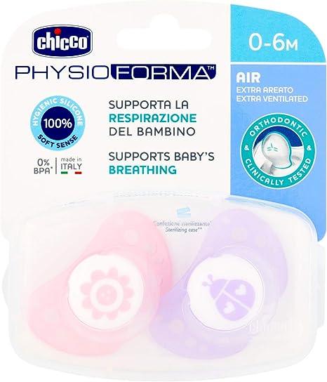 Chicco Physio Air - Pack de 2 chupetes de silicona para 0 - 6 meses, modelos aleatorios, color rosa: Amazon.es: Bebé