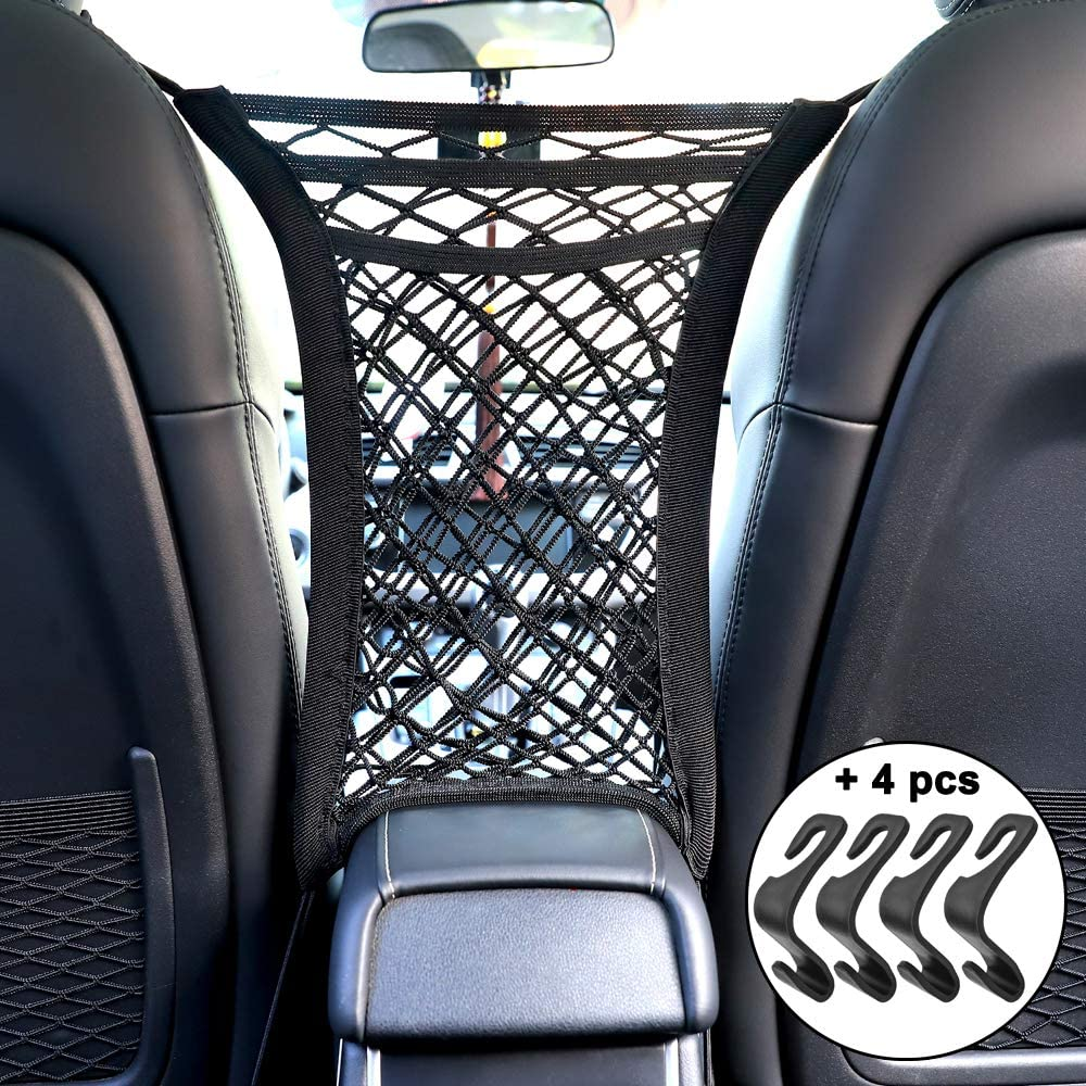 Tissue Purse Handbag Holder Driver Storage Netting Pouch Barrier of Backseat Pets Kids 3-Layer Car Mesh Organizer Storage Seat Back Cargo Net Bag Pouch 4 Pack Car Vehicle Back Seat Headrest Hook