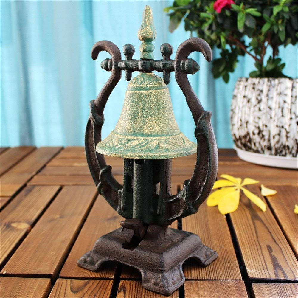 Bishelle-hm Front Counter Metal Desk Call Bell Wrought Iron Hand Service Bell Antique Art Figurine Dinner Bell European Meal Bell for Home Bar Cafe (Color : Retro, Size : 11x15.5x26cm) by Bishelle-hm