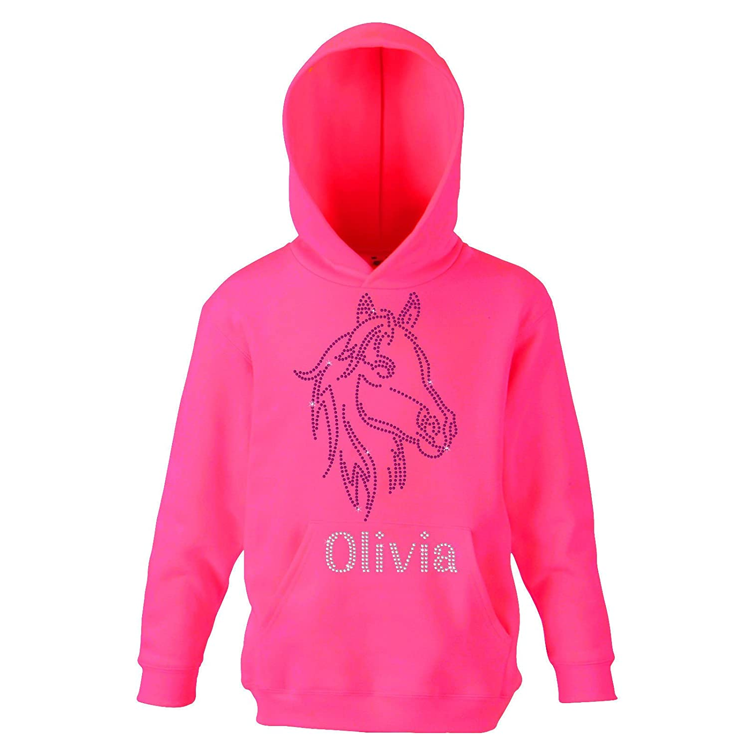 Fuchia PINK 5-6 Years Girl's Horse Face riding Personalised Hoodie Crystal Dance Jumper Leotard kids Hoody(K) By Varsany