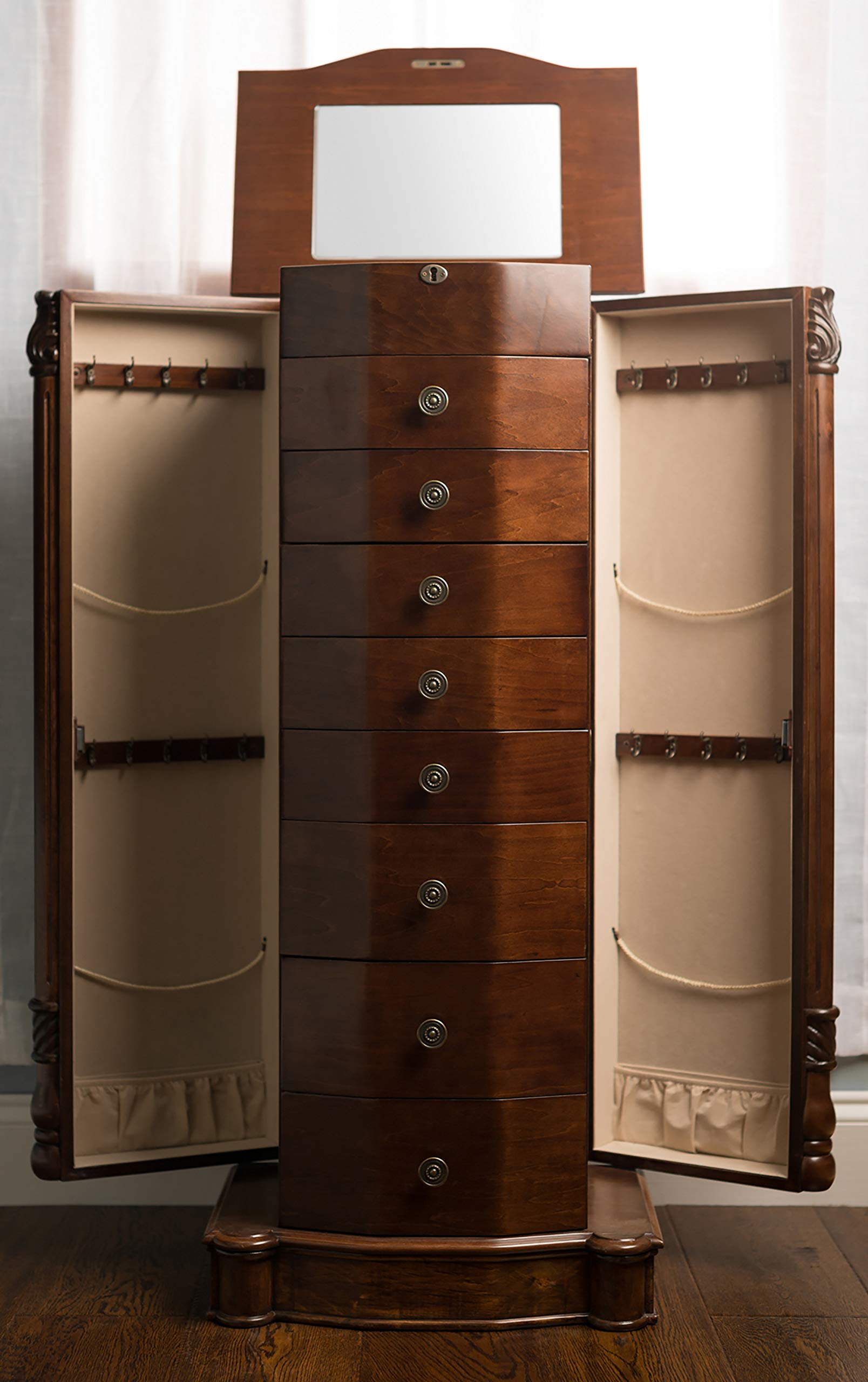 Hives and Honey 2417-654 Henry IV Jewelry Armoire, 39.75'' H x 17.25'' W x 11.6'' D, Walnut by Hives and Honey (Image #2)