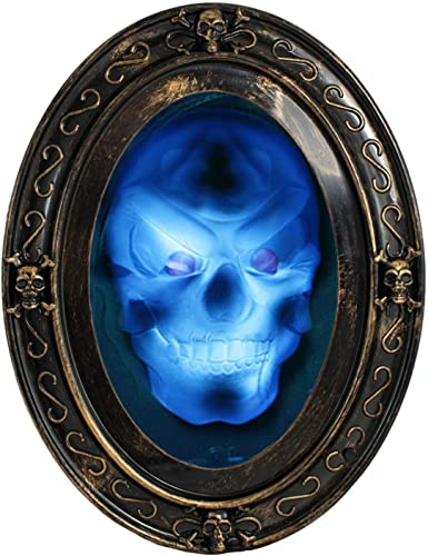 TRIXES Black and Gold Oval Haunted Speaking Halloween Mirror with Spooky Picture
