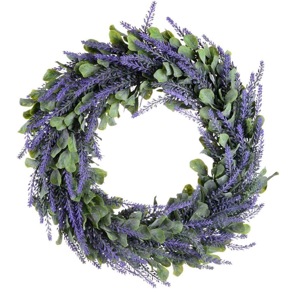 T/ürkranz 17 Zoll Lavendel Fr/ühling Kranz Runde Kranz f/ür die Haust/ür LIKEZZ K/ünstlicher Kranz Wohnkultur 1
